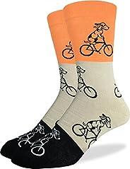 Good Luck Sock 男式橙色小狗骑行自行车水手袜,鞋码 7-12,橙色/灰色