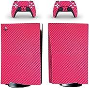Adventure Games - 碳纤维,粉色 - 乙烯基控制台皮肤贴花贴纸 + 2 个控制器皮肤套装 - 兼容 PlayStation 5 标准版
