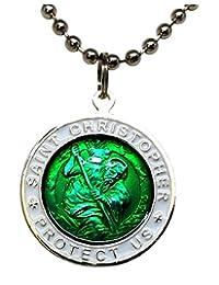 圣克里斯托弗冲浪项链,大号吊坠,绿色带白色边缘,58.42 厘米圆珠链