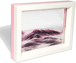 Muyan 移动沙艺术图片感官 3D 自然景观流动沙画双面沙景运动*小玩玩具装饰桌面家庭办公室(粉色)