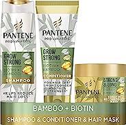 Pantene Grow 强力洗发水和护发素套装,可减少高达 96% 的掉发,含竹子和生物素。Hair Growth 洗发水、护发素和角质蛋白护理发膜,适用于干性受损发质