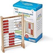 hand2mind 迷你 100--Bead Wooden Rekenrek 算盘,儿童算盘,木质数数学操纵,儿童数学串珠计数器,学习数和数字,家庭学校用品(25 件套)