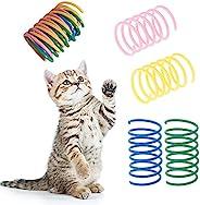 128 件装弹簧猫玩具,彩色互动猫玩具,塑料螺旋弹簧猫玩具,适合猫狩猎、追逐和锻炼需求