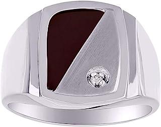 RYLOS 设计师戒指镶嵌钻石和真黑玛瑙镶嵌纯银或镀金银 925