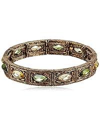 1928 Jewelry 金色调多层绿色弹性 女士手镯 (Downton Abbey旗下子品牌 新老包装随机发货)