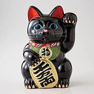 (Ale-net) 风水基本商品 黑色 18×16×25cm 黑 小猫 8号 左手