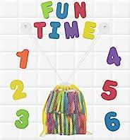 Click N' Play 沐浴泡沫字母和数字,带网面沐浴玩具收纳盒,3