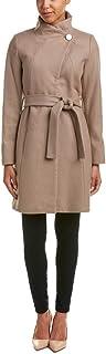 T Tahari 女士 Isabelle 非对称羊毛大衣带腰带