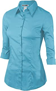女式 3/4 袖办公室休闲系扣衬衫青少年加大码(*大 6 码)