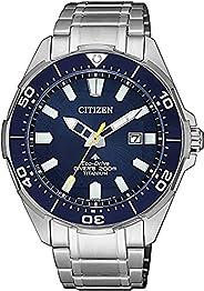 CITIZEN 西铁城 男士 钛合金表带手表 BN0201-88L 蓝色