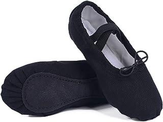 Ambershine 全底皮革芭蕾舞鞋适合女孩、幼儿/儿童/女士,帆布芭蕾舞鞋/缎面芭蕾舞鞋,带丝带/更好贴合舞鞋