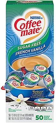 Nestlé Coffee-Mate 咖啡奶精,无糖法式香草味,单颗装液体奶精,不含乳制成分,无需冷藏,每盒50颗