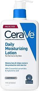 CeraVe 每日保湿乳液,适合干性皮肤 | 玻尿酸和神经酰胺,身体乳液,面部保湿霜 | 无香料 | 19盎司,562毫升