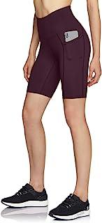 ATIKA 女式高腰自行车短裤,健身跑步瑜伽短裤,带口袋,运动弹力锻炼短裤,8 英寸(约 20.3 厘米) HW 侧插 (ys281) - 深紫红色,XL 码