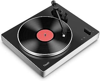 乙烯基唱片蓝牙转盘,USB 皮带驱动乙烯基播放器,带高保真立体声扬声器,支持乙烯基至 MP3 录音,RCA 输出,防滑