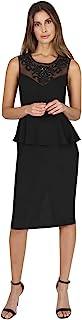 ONYX Nite 女式无袖梦幻领口长款绉纱连衣裙带腰部荷叶边