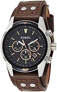 Fossil Coachman 计时码棕色皮革手表 - 模拟男式手表,石英机芯和银色表盘 - 秒表、测速计和计时器功能