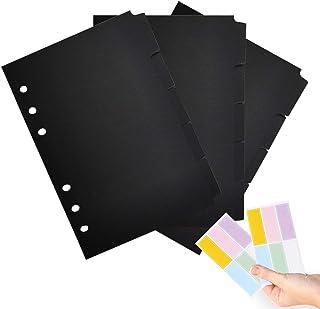 A5 索引纸黑纸 6 环索引页标签卡适用于旅行日记活页夹笔记本日记规划记事本,8 x 5.9 英寸(约 20.8 x 15 厘米),每套 5 个标签,每包 3 套,带 12 个额外贴纸(Harphia,DIYD-013-A5-黑色)