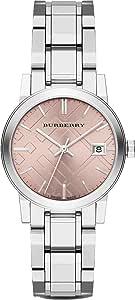 瑞士罕见银色粉色日期表盘 34mm 女式不锈钢腕表 City BU9124