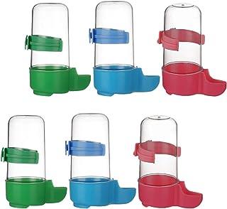 Balacoo 6 件套自动鸟类浇水器食物喂食器鸟类水瓶饮水器食品容器分配器悬挂鸟笼适用于鹦鹉小鹿(红蓝*)