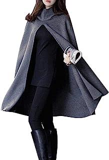 Choies 女士开叉连帽斗篷斗篷软羊毛大衣 黑色/灰色