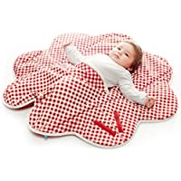 wallaboo 婴儿毛毯 Fleur 超柔100% 棉新生儿适用于婴儿车婴儿睡篮或婴儿床和旅行花朵形状85cm red vichy