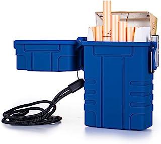 香烟盒,带 USB 可充电电动打火机,适用于整包装香烟,20 件防水香烟盒,适用于户外露营徒步(蓝色)