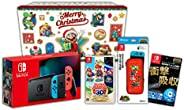 """[Amazon.co.jp限定] """"任天堂Switch 假日禮品套裝""""*馬里奧 3D收藏+Nintendo Switch 主體 霓虹藍/霓"""