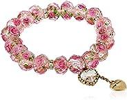 Betsey Johnson 女士 Tzarina 粉色珠子弹力手链