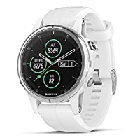 Garmin Fenix 5s Plus, Smaller-Sized Multisport GPS Smartwatch, Features Color TOPO Maps, Heart Rate Monitoring, Music and Garmin Pay, White/Silver