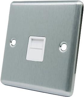 AET CSCTELSWH 缎面镀铬经典 BT 电话延长器从插座带白色嵌条