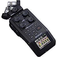 Zoom H6 全黑(2020版)6音轨便携式录音机,立体声麦克风,XLR/TRS输入4,SD卡,USB音频接口,电池供电