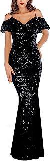 A ARFAR 女式亮片薄纱礼服晚宴派对礼服抹胸带褶皱连衣裙正式长裙舞会礼服