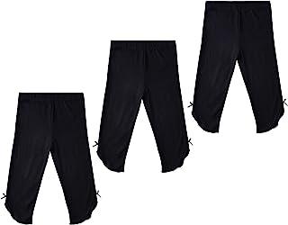 THEE BRON 幼儿/女童棉质七分裤夏季打底裤 3 件装-黑色 4T