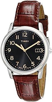 Timex Male 高架经典T2N948 analog 皮革 棕色 T2N9489J watches