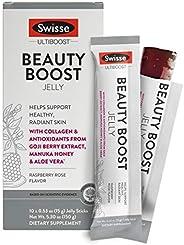 Swisse Ultiboost 果冻能量棒,覆盆子玫瑰| 护肤补品 | 海洋胶原蛋白,枸杞的抗氧化剂,麦卢卡蜂蜜,芦荟 | 便携式果冻棒 | 10件