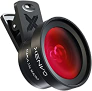 Xenvo iPhone 相机镜头套件 Pro - Macro 镜头和广角镜头,带 LED 灯,夹式手机相机镜头适用于 iPhone、Android、Samsung 手机和平板电脑