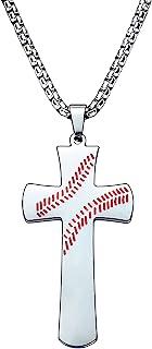棒球十字架吊坠项链,适合儿子 Gradnson 男士项链,I CAN DO All Things Strength 圣经经文项链 适合男孩