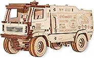EWA Eco Wood Art 3D 木制拼图,适合成人和青少年 – MAZ 拉力卡车 – 带橡胶带发动机的模型,自组装的 DIY 套件,无需胶水 – 比例 1:30,278 件