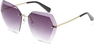 GOBIGER 女式太阳镜超大无框钻石切割镜片太阳眼镜带盒