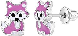 925 纯银女孩可爱珐琅小女孩 狐狸螺旋式后耳环 粉色珐琅 - 适合儿童和早产的时尚珠宝 - 趣味多彩狐狸耳环