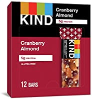 KIND 能量棒 蔓越莓杏仁+澳洲坚果,无麸质,低糖,1.4盎司/约40克,12支