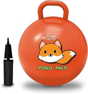 Flybar My First Pogo Pals 儿童摇铃球 - 带手柄的弹性球,儿童平衡球,适合 3 岁及以上儿童使用,包括气泵 小号 狐狸橙色