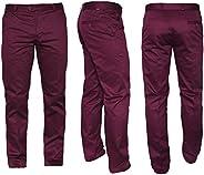 Merc Of London 男士斜纹棉布裤, 红色 - Rouge (Wine), 36W / 34L