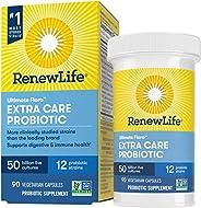 Renew Life 成人益生元——适合男性女性的终极植物群额外护理补充剂——货架稳定,无麸质,乳制品和大豆——500亿CFU——90粒素食胶囊