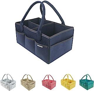 3ivewell 尿布盒收纳袋 大号 15x10x7- 婴儿房装饰托儿所储物箱 - 便携式后座椅汽车收纳袋 - 女孩或男孩 婴儿派对礼品篮注册必备 深蓝色