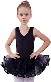 AUKARENY 女孩舞蹈紧身连衣裤,短裙吊带衫,舞蹈连衣裙芭蕾