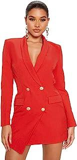 UNIQUE21 女式奢华染色排扣不对称西装连衣裙 - 女式优雅休闲办公活动西装连衣裙