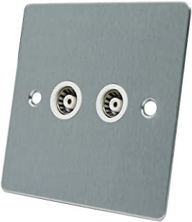 AET FSC2GTVWH 2-Gang 绸缎铬平头航空同轴女士电视插座带白色嵌条