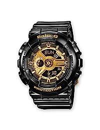 Casio 卡西欧 Baby-G 女士腕表时尚潮流防水电子手表 BA-110-1AER 黑色/金色